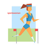 Sportswoman Abstract Figure