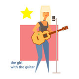 Girl With The Guitar Abstract Figure