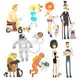 People of Different Professions with Pets. Vector Illustration Set