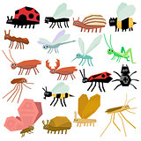 Insects. Flat Vector Illustration Set