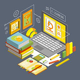 Vector Concept for Online Education. Flat 3d Isometric Design.