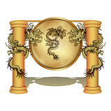 Chinese dragon on the pole with a disk