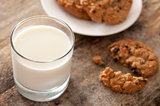 Glass of fresh milk with cookies