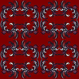 abstract flowers on a red background seamless pattern vector illustration
