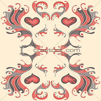 abstract red flower petals on a gentle pink background vector illustration