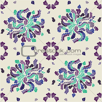 Beautiful abstract flowers on a light background seamless vector pattern