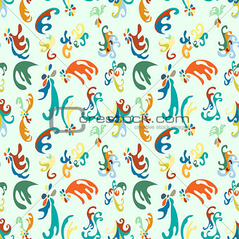 beautiful colored flowers on a light background vector illustration seamless pattern