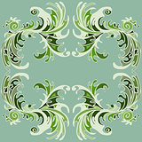 Beautiful green flower petals on a green background vector illustration