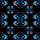 blue flower petals on a black background seamless pattern