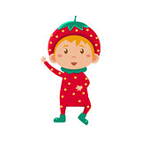 Kid In Strawberry Costume. Vector Illustration