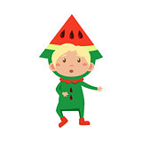 Kid In Watermelon Costume. Vector Illustration