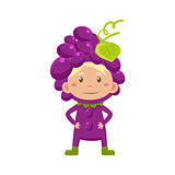 Kid In Grapes Costume. Vector Illustration