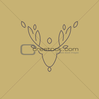 Abstract Line Drawing Of Deer Head