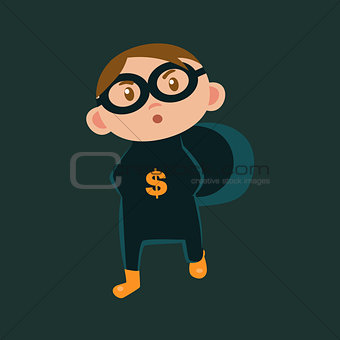Boy IN Bank Robber Haloween Disguise