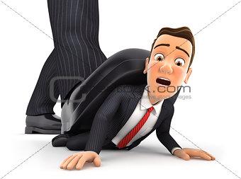 3d big foot crushing businessman