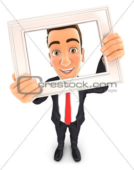 3d businessman holding picture frame