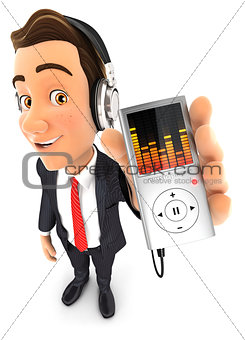 3d businessman listening music on mp3 player