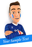 3d french soccer fan with sample text