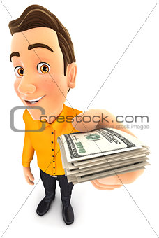 3d man holding a stack of dollar bills