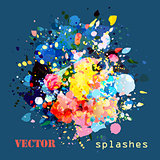 splashes colorful paints