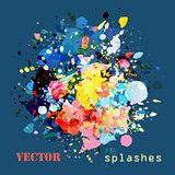 splashes colorful paints
