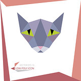 low poly animal icon. vector cat