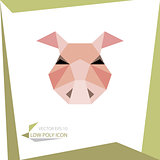 low poly animal icon. vector pig