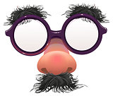 Funny glasses nose. Surface nose and glasses. Black eyebrows, mustache. 1 April Fools Day