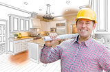 Contractor in Hard Hat Over Custom Kitchen Drawing and Photo
