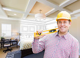 Contractor in Hard Hat Over Custom Bedroom Drawing and Photo