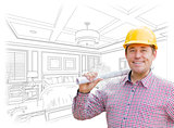 Contractor in Hard Hat Over Custom Bedroom Drawing