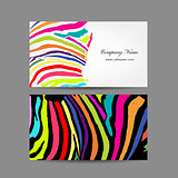 Business card, colorful zebra print design