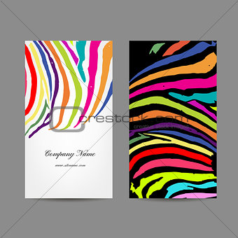 Business card, colorful zebra print design