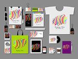 Corporate flat mock-up template, colorful zebra print design
