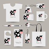 Corporate business style design, funny cow