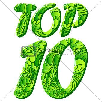 Top ten isolated vector text