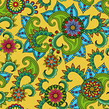 Seamless pattern with flowers over yellow