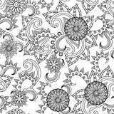 Seamless black and white pattern with flowers