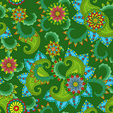 Seamless pattern with flowers over green