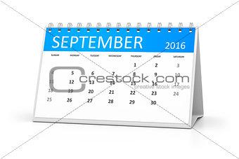blue table calendar 2016 september