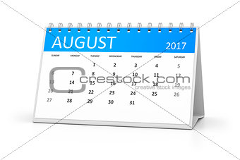 blue table calendar 2017 august