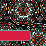 Abstract Indian Dark Card eith Colorful Deco