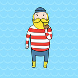 Cute bearded sailor with a pipe.
