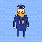 Cute bearded captain of a ship