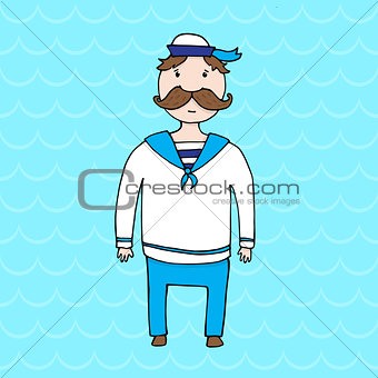 Cute young sailor with mustache