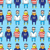 Seamless pattern with a ship crew, captain and sailors
