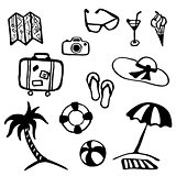 Travel and vacation summer icon collection