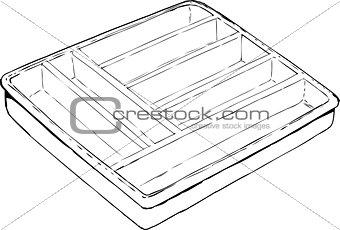 Single Empty Cutlery Tray Outline