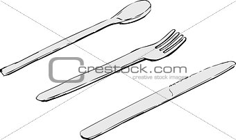 Knife, fork and spoon sketches