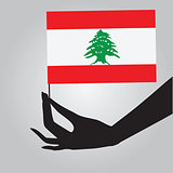 Hand with flag Lebanon